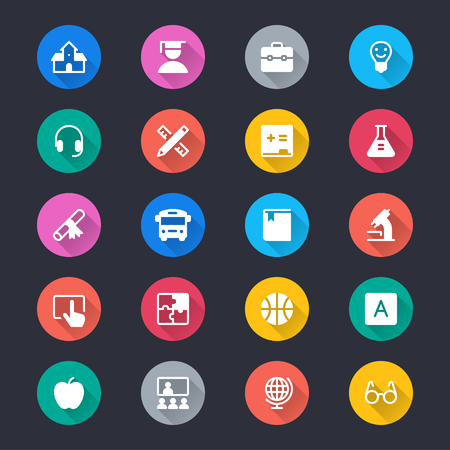Education simple color icons