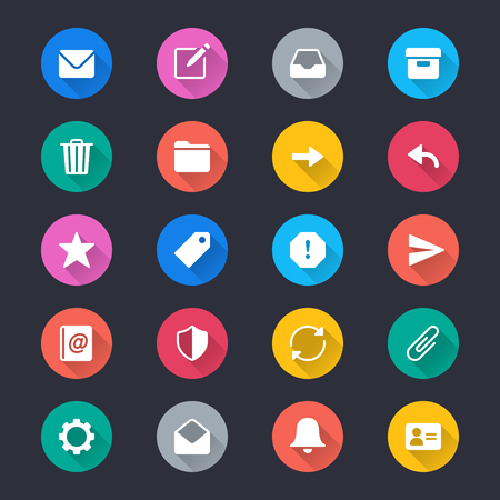 Email simple color icons Illustration