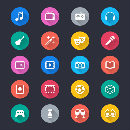 Entertainment simple color icons