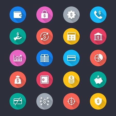 Financial management simple color icons