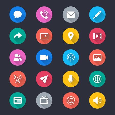 Media en communicatie eenvoudige kleur iconen