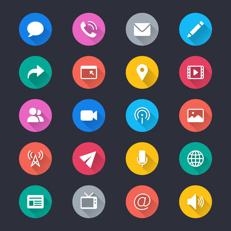 Media and communication simple color icons Illustration