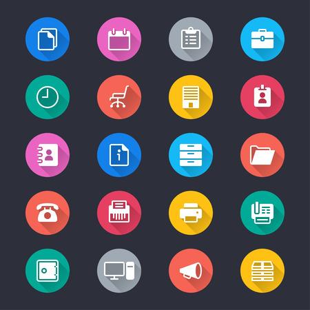 Equipos de oficina iconos de colores simples Foto de archivo - 58107612