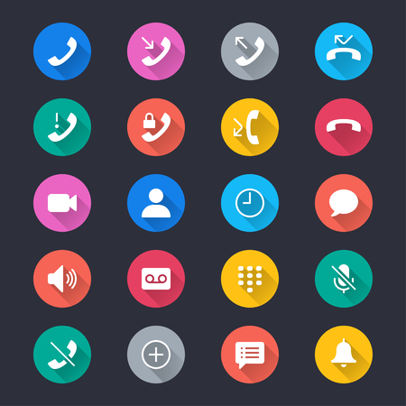 call log: Telephone simple color icons Illustration