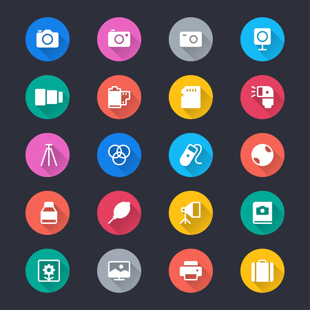 Photography simple color icons