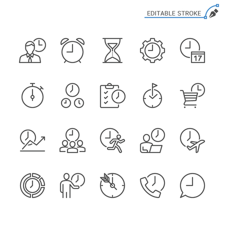 Time management line icons. Editable stroke. Pixel perfect.