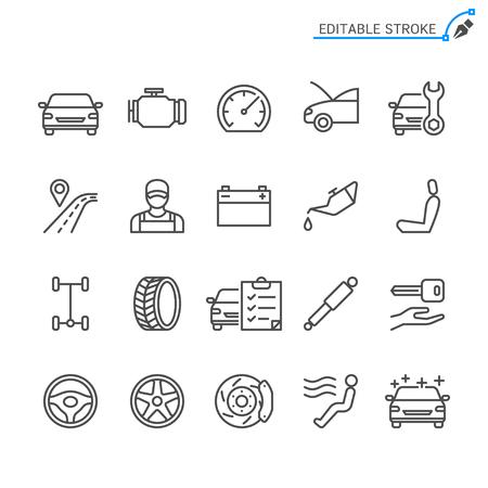 Auto service line icons. Editable stroke. Pixel perfect. Banco de Imagens - 120485449