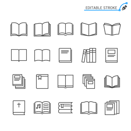Book line icons. Editable stroke. Pixel perfect.
