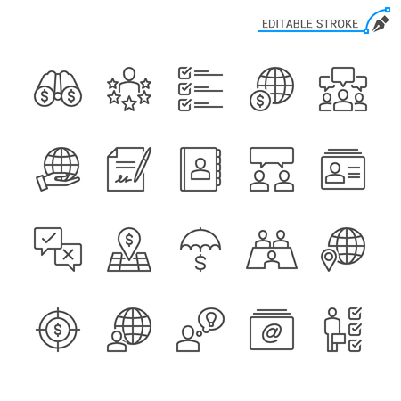 Business line icons. Editable stroke. Pixel perfect.
