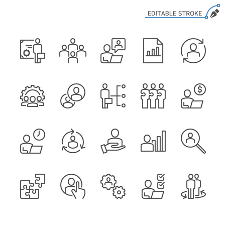 Business Management line icons. Editable stroke. Pixel perfect. 向量圖像