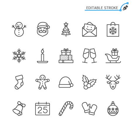 Christmas line icons. Editable stroke. Pixel perfect. 向量圖像