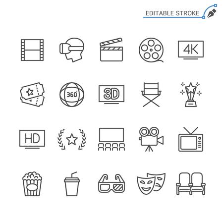 Cinema line icons. Editable stroke. Pixel perfect. Banco de Imagens - 120485463