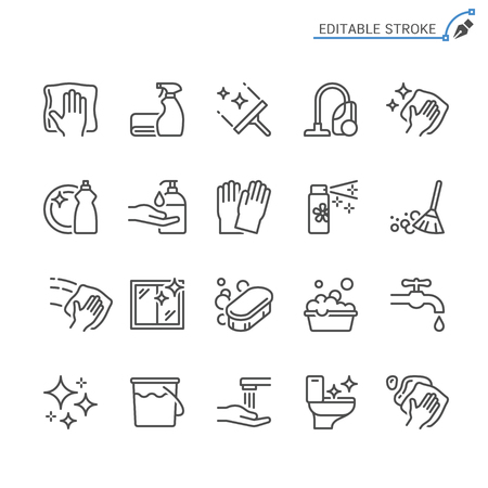 Cleaning line icons. Editable stroke. Pixel perfect. Vettoriali