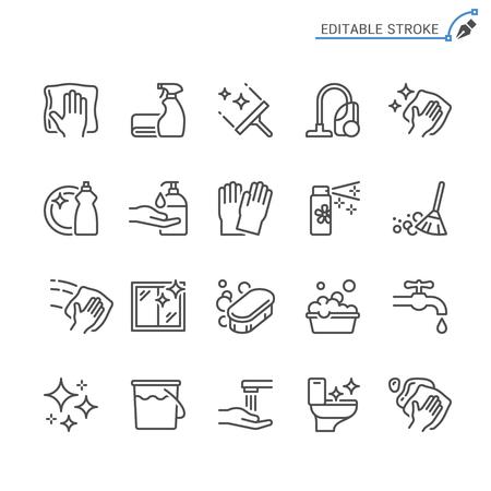 Symbole für Reinigungslinien. Bearbeitbarer Strich. Pixelgenau.