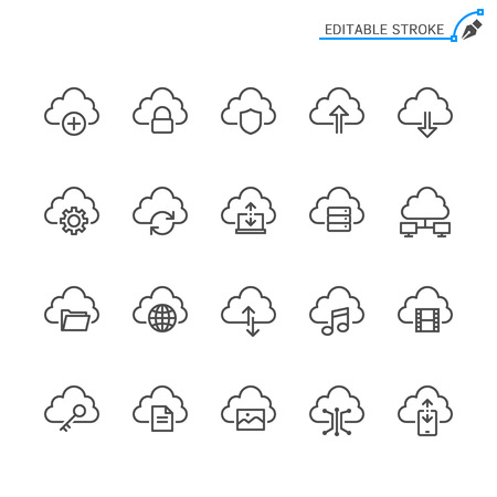 Cloud computing line icons. Editable stroke. Pixel perfect. 向量圖像
