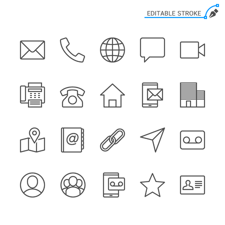 Contact line icons. Editable stroke. Pixel perfect. Banco de Imagens - 120485470
