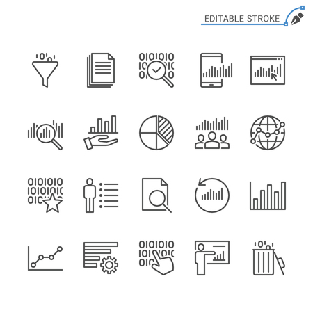 Data analytics line icons. Editable stroke. Pixel perfect. Banco de Imagens - 120485471