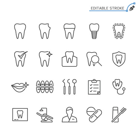 Dental line icons. Editable stroke. Pixel perfect. 向量圖像