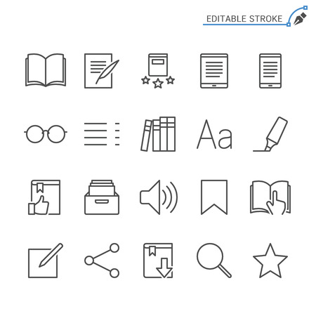 E-book reader line icons. Editable stroke. Pixel perfect.