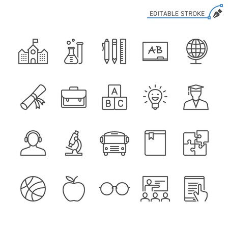 Education line icons. Editable stroke. Pixel perfect. Banco de Imagens - 120485676