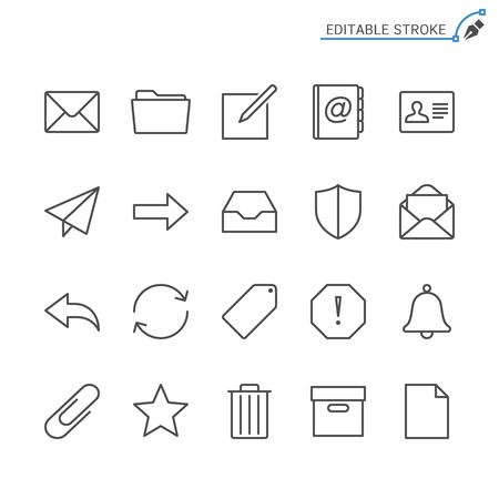 Email line icons. Editable stroke. Pixel perfect. 向量圖像
