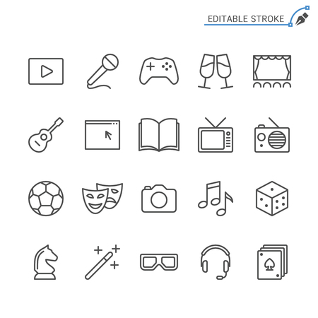 Unterhaltungsliniensymbole. Bearbeitbarer Strich. Pixelgenau.