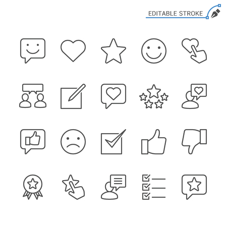 Feedback and review line icons. Editable stroke. Pixel perfect. Banco de Imagens - 120485682