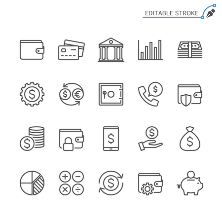 Financial management line icons. Editable stroke. Pixel perfect. 向量圖像