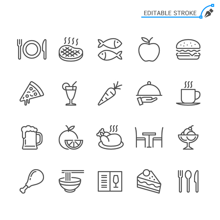 Food line icons. Editable stroke. Pixel perfect. 向量圖像