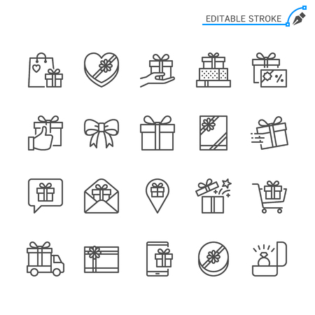 Gift line icons. Editable stroke. Pixel perfect.