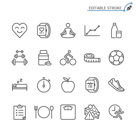 Symbole für die Gesundheitslinie. Bearbeitbarer Strich. Pixelgenau.