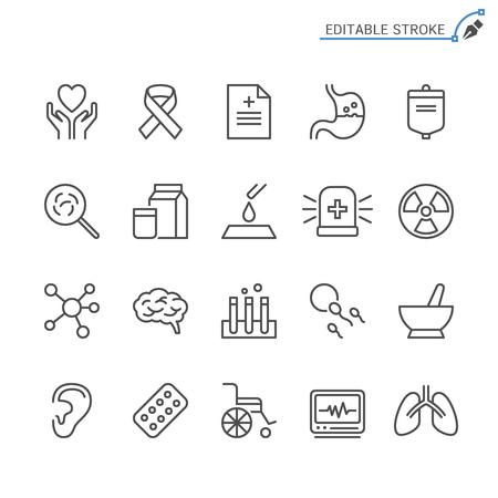Healthcare line icons. Editable stroke. Pixel perfect. 向量圖像