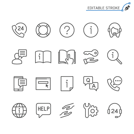 Help and support line icons. Editable stroke. Pixel perfect. Ilustração