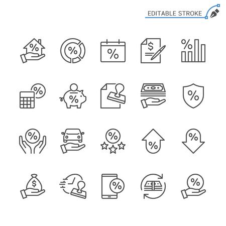 Loan line icons. Editable stroke. Pixel perfect.