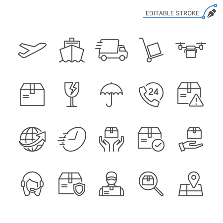Logistics and shipping line icons. Editable stroke. Pixel perfect.