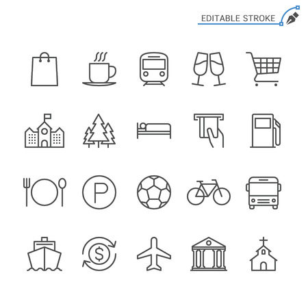 Map and location line icons. Editable stroke. Pixel perfect. Banco de Imagens - 120485725
