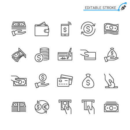 Money line icons. Editable stroke. Pixel perfect. Banco de Imagens - 120485730