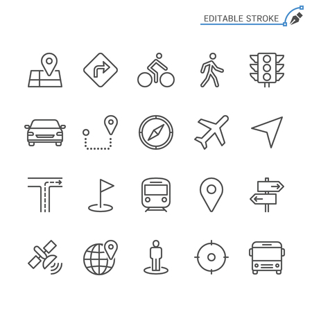Navigation line icons. Editable stroke. Pixel perfect.