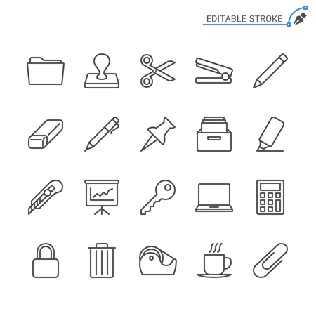 Office supplies line icons. Editable stroke. Pixel perfect. 向量圖像