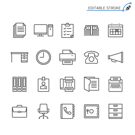 Office supplies line icons. Editable stroke. Pixel perfect. Banco de Imagens - 120485744