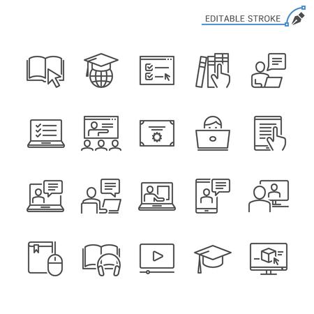 Online education line icons. Editable stroke. Pixel perfect. 向量圖像
