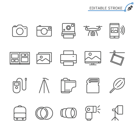 Photography line icons. Editable stroke. Pixel perfect. Banco de Imagens - 120485742
