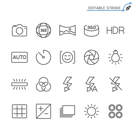 Photography line icons. Editable stroke. Pixel perfect. Ilustrace