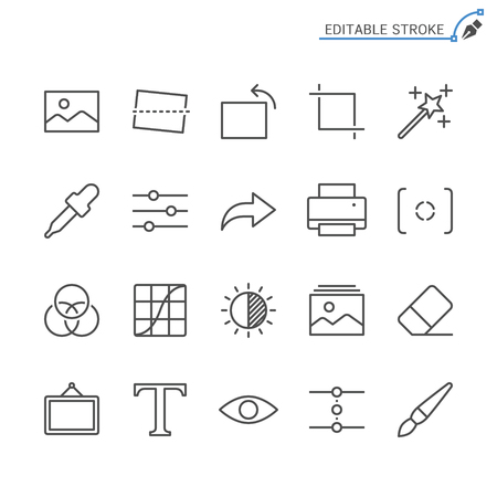 Photography line icons. Editable stroke. Pixel perfect. 向量圖像