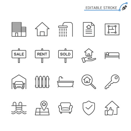 Real estate line icons. Editable stroke. Pixel perfect. 向量圖像