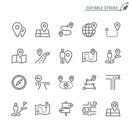 Route line icons. Editable stroke. Pixel perfect. Banco de Imagens - 120485748