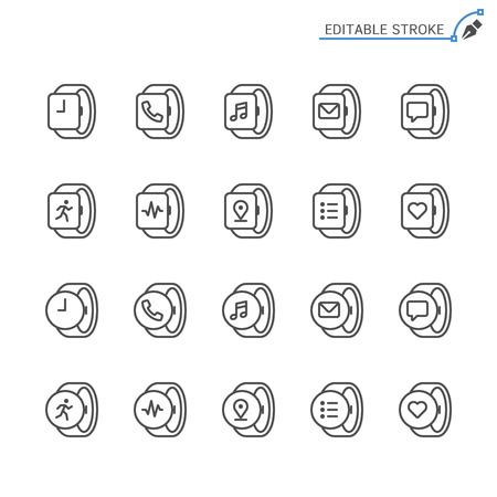 Smartwatch line icons. Editable stroke. Pixel perfect. 向量圖像