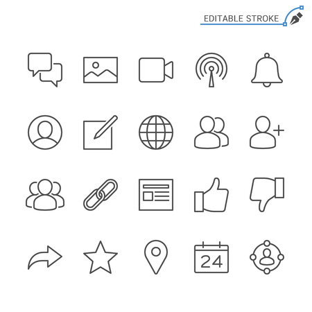 Social network line icons. Editable stroke. Pixel perfect. 向量圖像