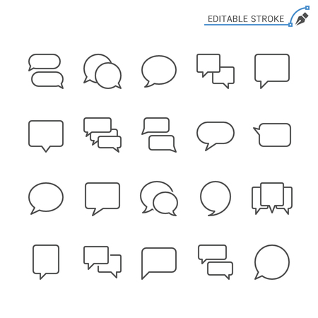 Speech bubble line icons. Editable stroke. Pixel perfect.