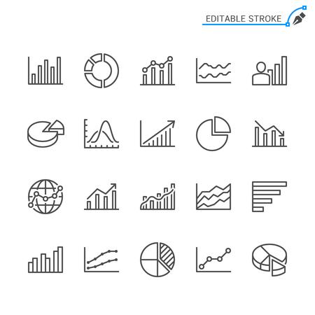 Statistics line icons. Editable stroke. Pixel perfect. Banco de Imagens - 120486072